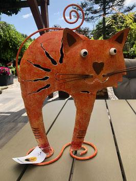 Katze a. Metall. Tierfigur mit Herznase für Drinnen u. Draußen. Bali Paradies