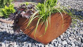 Herz aus Eisen in Edelrost zum bepflanzen.