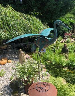Vogelskulptur, Große Gartendekoration aus Metall