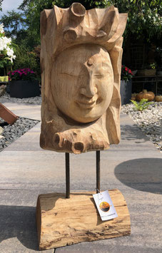 Holzstatue, Teakholz mit lieblichen Buddha Gesicht. Unikat, Kunstwerk