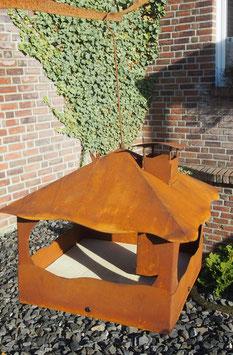 Futterhaus, Vogelhaus Edelrost mit Holzboden