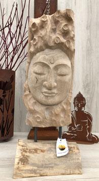 Buddha- Skulptur, Statue aus Holz für Wohnraum und Garten. Hingucker.