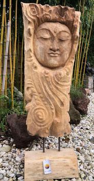 Buddha aus einem Stück Baum geschnitzt. Großes, schweres Unikat.