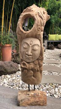Holzskulptur, Außergewöhnlicher Blickfang vermittelt Zufriedenheit und Glück