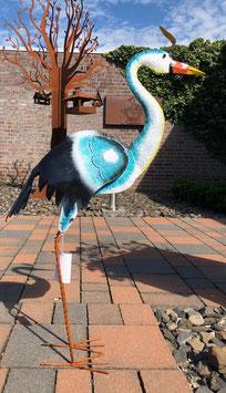 Vogelskulptur, Reiher, Metallskulptur für Wohnbereich und  Garten.