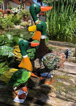 Enten, drei Enten aus Metall von Bali Paradies