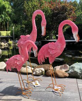 Flamingos, drei Vogel- Skulpturen für Wohnraum- Garten- Teich.