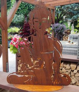 Buddha, Große Skulptur aus Eisen in Edelrost für den Garten