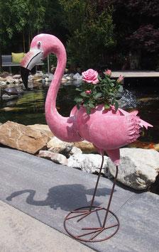 Flamingo, Vogelskulptur zum bepflanzen für Wohnraum- Garten- Teich.