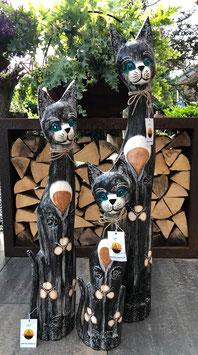 Drei Katzen aus Holz, Schönes Deko für für ihr Zuhause