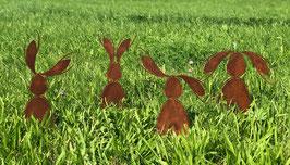 4 Hasen aus Eisen in Edelrost