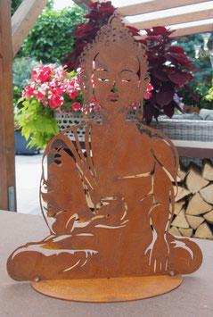 Buddha, Skulptur aus Edelrost für Garten und Teich