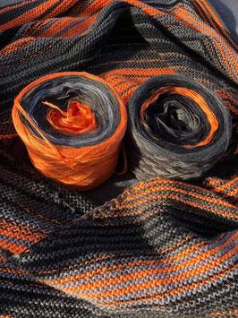 """Setwicklung Stripes """"Orange-Grau""""  4-fädig"""