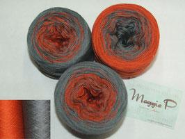 Mütze Orange Grau  6-fädig