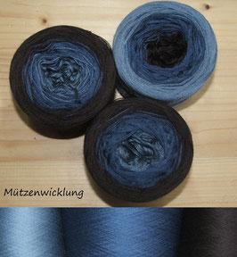 Mütze Blau Braun   6-fädig