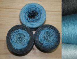 Mütze Mintblau Blau Grau   6-fädig