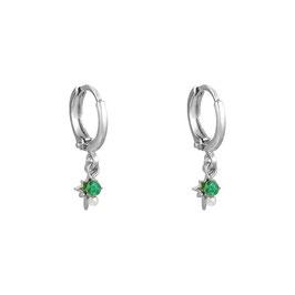 YG-05201 Oorbellen zilveren ster met groen steentje