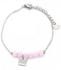 MA-02203 Armbandje met kleine mooi bedeltje en roze glas steen kralen