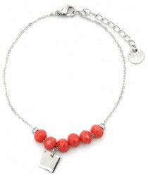 MA-02200 Armbandje met klein mooi rvs bedeltje en oranje glas steen kralen