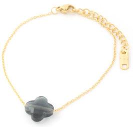 MA-02000 Armbandje goudkleurig met clover steen