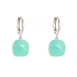 YG-05205 Oorbellen zilver met Turquoise geslepen kristal