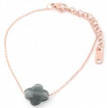MA-02100 Armbandje rose goud met clover steen
