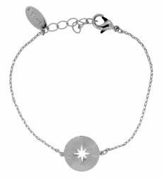 OM-22202 Armbandje met disk en open sterretje, verzilverd 16,5-19 cm
