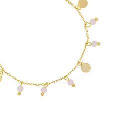 YG-02000 Armbandje goudkleurig trendy beaded munt met roze glasbolletjes