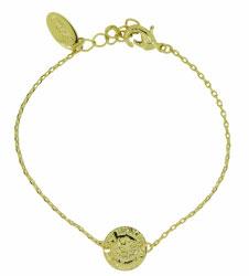 OM-02002 Armbandje met klein muntje, verguld 19,5 cm