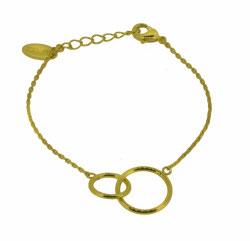 OM-02001 Armbandje verstelbaar met 2 rondjes aan elkaar, verguld 20 cm