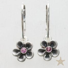 Blume Ohrhänger, rosa Turmalin, Blüte 10mm