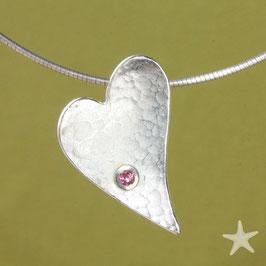 Herzanhänger, 3,5cm, gehämmert mit Perle, Silber