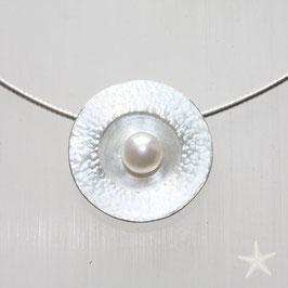 Anhänger mit Perle, 2cm,  Silber rhodiniert