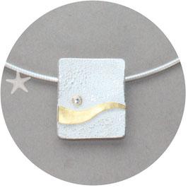 Unikat Anhänger mit Struktur Silber/ Gold/ Brillant