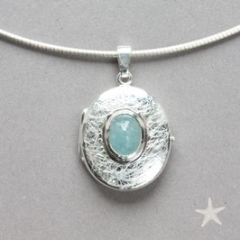 ovales Medaillon mit Aquamarin, Silber