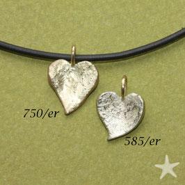 Anhänger strukturierte Herzen, 1,2cm, 585er Gold oder 750er Gold