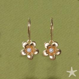 Ohrhänger, Blume mit Perle