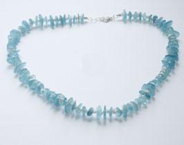 Edelsteinkette, Aquamarin, Scheiben und weiße Perlen, 10mm,925 Silber