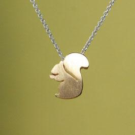 Anhänger: Eichhörnchen in Silber goldplattiert