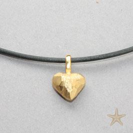 Herz Anhänger, 1cm,  kleines, rustikales Herz, goldplattiert