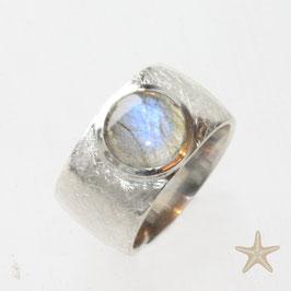 Unikat Ring handgefertigt mit Labradorit , in 925 Silber