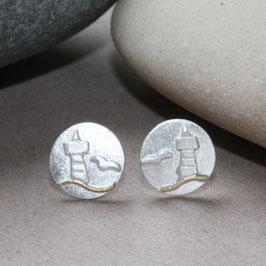 Ohrstecker mit Leutturm und Möwe,  Silber,Gold 0,8cm