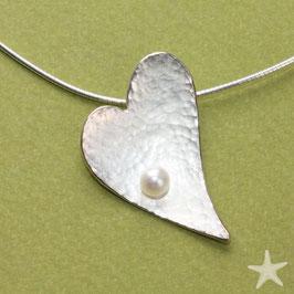 Herzanhänger ,3,5cm,gehämmert mit Perle, Silber