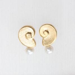 Ohrstecker : Schneckenform mit Perle