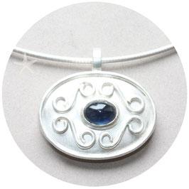 Unikat Anhänger mit Safir, Silber, oval