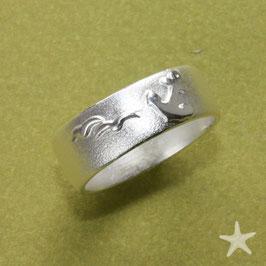 Ring mit Möwen und Anker,  7mm breit