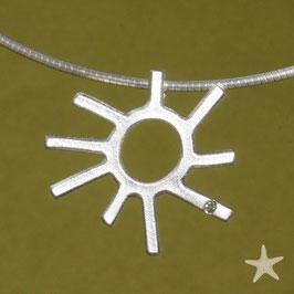 Sonnen Anhänger, Silber mit Brillant,klein