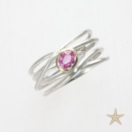 Unikat Ring, handgefertigt , Turmalin, Silber/Gold