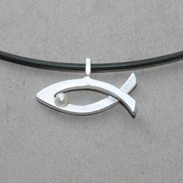 christlicher Fisch Anhänger 2,2cm, Ichthys Silber mit Perle