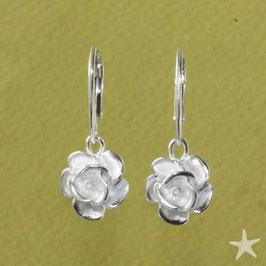 Ohrhänger Rosen Silber 12mm
